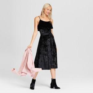 Black velvet with satin tie midi dress